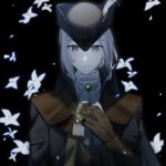 1girl ascot black_background bloodborne brooch cape closed_mouth coat comb cravat eyebrows_visible_through_hair flower gem gloves grey_eyes hat hat_feather highres holding holding_comb jewelry lady_maria_of_the_astral_clocktower long_hair looking_at_viewer solo the_old_hunters tokyo_bay_seal tricorne white_flower white_hair