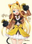 1girl alternate_costume alternate_hair_length alternate_hairstyle amane_(amnk1213) animal_ears bell belt_collar blonde_hair blue_eyes cat_ears cat_tail claw_pose collar cowboy_shot cropped_jacket dated dress facial_mark fake_animal_ears fang fur_trim hair_between_eyes head_tilt highres jacket kagamine_rin kemonomimi_mode long_hair looking_at_viewer miniskirt neck_bell neckerchief older one_eye_closed simple_background skin_fang skirt smile solo tail tan_background thighs vocaloid white_dress white_skirt