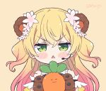 1girl angry animal_ears arm_garter bear_ears bear_girl bear_paws blonde_hair blush_stickers chibi commentary english_commentary frilled_shirt frills gloves gradient_hair green_eyes headset hololive kukie-nyan long_hair looking_at_viewer momosuzu_nene multicolored_hair nekko_(momosuzu_nene) paw_gloves paws pink_hair scowl shirt sleeveless sleeveless_shirt solo triangle_mouth twitter_username two_side_up virtual_youtuber