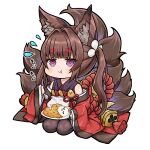 1girl :t amagi-chan_(azur_lane) animal_ears azur_lane bangs bell black_legwear blunt_bangs brown_hair chibi commentary_request curry curry_rice eating eyebrows_visible_through_hair flying_sweatdrops food fox_ears fox_girl fox_tail hair_ribbon holding holding_spoon kyuubi long_hair looking_at_viewer manjuu_(azur_lane) multiple_tails off-shoulder_kimono off_shoulder plate ribbon rice rope sassa_(onion) seiza shimenawa sidelocks simple_background sitting solo spoon tail thick_eyebrows translation_request twintails violet_eyes white_background wide_sleeves
