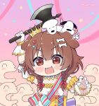 1girl :3 :d animal_ears axe bangs battle_axe blush_stickers bone_hair_ornament braid brown_eyes brown_hair chibi commentary creature detached_sleeves dog dog_ears dog_girl dress english_commentary fan fangs futo-inu gloves hair_between_eyes hair_ornament hairclip heart heart_hair_ornament highres holding holding_axe holding_weapon hololive hoso-inu inugami_korone kukie-nyan listener_(inugami_korone) long_hair low_twin_braids official_alternate_costume open_mouth puffy_short_sleeves puffy_sleeves short_sleeves smile solo twin_braids twitter_username underbust upper_body virtual_youtuber weapon white_dress white_gloves
