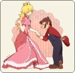 blue_overalls breasts brown_hair crown gloves mario mario_(series) mario_bros. nintendo pink_dress princess_peach red_hat yellow_hair