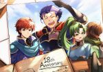 1girl 3boys ahoge anniversary arm_up armor bangs blue_eyes blue_hair blue_sky breasts brown_hair cape closed_eyes closed_mouth clouds cloudy_sky commentary_request day earrings eliwood_(fire_emblem) fingerless_gloves fire_emblem fire_emblem:_the_blazing_blade gauntlets gloves green_cape green_eyes green_hair hair_between_eyes hair_ornament hector_(fire_emblem) high_ponytail highres jewelry long_hair lyn_(fire_emblem) mark_(fire_emblem:_the_blazing_blade) medium_breasts multiple_boys nakabayashi_zun open_mouth outdoors photo_(object) ponytail redhead short_hair short_sleeves shoulder_armor sky tiara tied_hair turtleneck upper_body