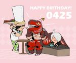1girl 2boys ahoge angel_(kof) blonde_hair blush_stickers chef_hat chibi closed_eyes dinosaur_boy dinosaur_costume eyebrows_visible_through_hair eyepatch food fork hat holding holding_fork holding_plate king_of_dinosaurs knife multiple_boys muscular muscular_male party_hat plate ramon_(kof) smile snk steak the_king_of_fighters the_king_of_fighters_xiv white_hair yaka_(kk1177)