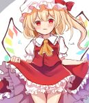 1girl ascot blonde_hair bloomers blurry blush bow breasts character_name closed_mouth commentary_request cowboy_shot crystal depth_of_field dorowa_(drawerslove) eyebrows_visible_through_hair fang flandre_scarlet frilled_shirt_collar frills hat hat_bow highres lifted_by_self mob_cap one_side_up puffy_short_sleeves puffy_sleeves red_bow red_skirt red_vest short_hair short_sleeves simple_background skirt small_breasts solo standing sweat touhou underwear vest white_background white_headwear wings yellow_neckwear