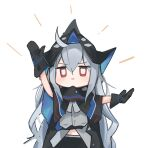 1girl arknights arm_up ascot belt black_capelet black_headwear black_neckwear bloodborne blush capelet chibi closed_mouth commentary_request eyebrows_visible_through_hair grey_shirt hair_between_eyes hand_up hat long_hair looking_at_viewer midriff mikojin pose red_eyes shirt silver_hair simple_background skadi_(arknights) solo upper_body v-shaped_eyebrows white_background