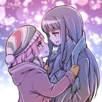 2girls :d artist_name beanie blue_hair blush coat eye_contact hat height_difference hood hooded_jacket jacket long_hair looking_at_another magia_record:_mahou_shoujo_madoka_magica_gaiden mahou_shoujo_madoka_magica multiple_girls nanami_yachiyo open_mouth pink_hair scarf scarf_grab smile studiozombie tamaki_iroha winter_clothes yuri