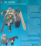 1boy 1girl artist_name breasts brown_eyes chain character_name character_profile colored_skin english_text extra_arms facial_mark fewer_digits flail gen_1_pokemon gold_chain greatsword grey_skin grin hammer hat hat_feather highres holding holding_hammer holding_sword holding_weapon kinkymation large_breasts long_hair machamp oversized_object pelvic_curtain pokemon purple_hair red_eyes silver_hair smile sword typo very_long_hair war_hammer weapon