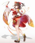 1girl absurdres adapted_costume alucard_pie ass bare_legs belt black_footwear bow breasts brown_belt brown_hair chinese_commentary closed_mouth commentary crop_top dancing detached_sleeves expressionless eyebrows_visible_through_hair full_body gohei hair_bow hair_tubes hakurei_reimu highres holding huge_filesize looking_at_viewer looking_back mary_janes medium_breasts medium_hair midriff nontraditional_miko ofuda panties pantyshot ponytail red_bow red_skirt shadow shoes sidelocks simple_background skirt socks solo standing thighs touhou twisted_torso underwear violet_eyes white_background white_legwear white_panties wind wind_lift yin_yang