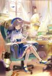 1girl armchair bangs beret blue_eyes blue_footwear blue_headwear blue_skirt blurry blurry_foreground blush book bosack brown_hair chair closed_mouth commentary cup curtains depth_of_field desk english_commentary eyebrows_visible_through_hair eyewear_removed frilled_skirt frills glasses hand_up hat holding holding_cup holding_saucer indoors kneehighs lantern long_hair on_chair open_book original petals phonograph pleated_skirt puffy_short_sleeves puffy_sleeves red-framed_eyewear round_eyewear saucer shirt shoes short_sleeves sitting skirt smile solo teapot white_legwear white_shirt window