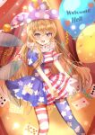1girl :d american_flag_dress balloon bangs blonde_hair blush breasts card clownpiece club_(shape) diamond_(shape) english_text eyebrows_behind_hair fairy_wings fang feet_out_of_frame hair_between_eyes happy hat highres holding holding_balloon jester_cap long_hair looking_at_viewer maruro medium_breasts neck_ruff open_mouth pantyhose petticoat pink_eyes pink_headwear polka_dot short_sleeves skin_fang smile solo spade_(shape) standing star_(symbol) star_print touhou very_long_hair wings