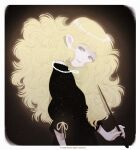 1girl absurdres big_hair black_background blonde_hair disembodied_head earrings glowing grey_eyes highres holding holding_wand jewelry long_hair necklace original pointy_ears shadow simple_background smile solo toktin_zq wand