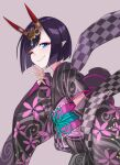 1girl bangs black_kimono bob_cut breasts coffeekite eyeliner fate/grand_order fate_(series) floral_print headpiece highres horn_ornament horn_ring horns japanese_clothes kimono long_sleeves looking_at_viewer lostroom_outfit_(fate) makeup obi one_eye_closed oni oni_horns purple_hair sash short_hair shuten_douji_(fate) skin-covered_horns small_breasts smile v violet_eyes wide_sleeves