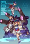 3girls black_gloves blue_bandana breasts fingerless_gloves gloves gundam gundam_age gundam_age-3 gundam_age-3_fortress gundam_age-3_laguna hair_behind_ear king_of_unlucky leaning_forward mecha_musume medium_breasts multiple_girls open_hands personification red_eyes short_hair v-shaped_eyebrows