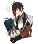 2boys ahoge ao_1_0 arm_guards arm_tattoo armor asymmetrical_clothes bangs bead_necklace beads black_gloves blush brown_hair closed_eyes collared_shirt commentary_request detached_sleeves earrings eyeliner eyeshadow formal genshin_impact gloves gradient_hair green_gloves green_hair hair_between_eyes headpat hug jacket jewelry long_hair long_sleeves makeup male_focus multicolored_hair multiple_boys necklace necktie open_mouth orange_hair ponytail red_eyeshadow shirt shoulder_armor shoulder_pads shoulder_spikes simple_background single_bare_shoulder single_detached_sleeve single_earring speech_bubble spikes suit sweat tassel tassel_earrings tattoo translation_request two-tone_hair xiao_(genshin_impact) yellow_eyes zhongli_(genshin_impact)