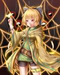 1girl absurdres aussa aussa_(cosplay) belt bike_shorts blonde_hair bow bracelet bug butterfly butterfly_on_finger cosplay eyebrows_visible_through_hair feng_ling_(fenglingwulukong) glowing glowing_butterfly green_sweater hair_bow highres hood hood_down hooded_robe insect jewelry kurodani_yamame long_sleeves open_clothes open_robe pom_pom_(clothes) red_eyes redrawn robe silk solo spider_web sweater thighlet touhou turtleneck turtleneck_sweater wide_sleeves yu-gi-oh!