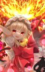 1girl ascot blonde_hair bow brad chromatic_aberration commentary_request eyebrows_visible_through_hair fangs flandre_scarlet hair_between_eyes hat hat_bow highres laevatein looking_at_viewer medium_hair mob_cap open_mouth puffy_short_sleeves puffy_sleeves red_bow red_eyes red_skirt red_vest shirt short_sleeves skirt skirt_set smile solo touhou vest white_headwear white_shirt wings yellow_neckwear