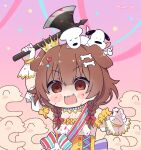 1girl :3 :d animal_ears axe bangs battle_axe blood blood_on_face bloody_clothes bloody_hands bloody_weapon blush_stickers bone_hair_ornament braid brown_eyes brown_hair chibi commentary creature detached_sleeves dog dog_ears dog_girl dress empty_eyes english_commentary fan fangs futo-inu gloves hair_between_eyes hair_ornament hairclip heart heart_hair_ornament highres holding holding_axe holding_weapon hololive hoso-inu inugami_korone kukie-nyan listener_(inugami_korone) long_hair low_twin_braids official_alternate_costume open_mouth puffy_short_sleeves puffy_sleeves shaded_face short_sleeves smile solo twin_braids twitter_username underbust upper_body virtual_youtuber weapon white_dress white_gloves yandere