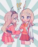 !? 2girls @_@ ahoge akamatsu_kaede antenna_hair backpack bag bangs blonde_hair blush breast_grab collared_shirt commentary_request cropped_legs danganronpa_(series) danganronpa_v3:_killing_harmony goggles goggles_on_head grabbing grey_background hair_ornament heart highres iruma_miu kara_aren long_hair long_sleeves multiple_girls musical_note musical_note_hair_ornament necktie open_mouth orange_neckwear pink_shirt pink_skirt pink_vest pleated_skirt sailor_collar shirt skirt striped striped_background sweat sweater_vest vest white_background white_shirt