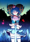 1girl blue_eyes blue_hair blue_skirt commentary crown eyebrows_visible_through_hair floating_hair groin hair_ornament heart holding holding_sword holding_weapon looking_at_viewer magical_girl mahou_shoujo_madoka_magica miki_sayaka momoko_(palemon) pantyhose planted_sword planted_weapon short_hair skirt sleeveless stomach sword sword_behind_back thighs weapon witch_(madoka_magica)