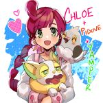 1girl :d bangs blush braid braided_ponytail character_name chloe_(pokemon) collarbone commentary eyebrows_visible_through_hair eyelashes flower gen_5_pokemon gen_8_pokemon green_eyes hair_flower hair_ornament heart holding holding_pokemon kash-phia long_hair long_sleeves looking_at_viewer open_mouth overalls pidove pink_flower pokemon pokemon_(anime) pokemon_(creature) pokemon_swsh_(anime) purple_hair smile yamper