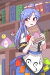 apron blouse blue_bow blue_hair blue_skirt book bow bowtie buttons celestial chibi coin_on_string dress_shirt food frills fruit hakurei_reimu highres hinanawi_tenshi leaf library long_hair neck_ribbon peach puffy_short_sleeves puffy_sleeves rainbow_gradient rainbow_order red_bow red_eyes ribbon rope shimenawa shirt short_sleeves skirt sword_of_hisou temu touhou white_blouse white_shirt wing_collar