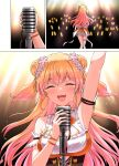 1girl arm_up blonde_hair closed_eyes crying double_bun fang glowstick highres holding holding_microphone hololive long_hair microphone momosuzu_nene orange_nails smile yuu201023