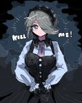 1girl bangs black_dress black_gloves danganronpa_(series) danganronpa_v3:_killing_harmony dress gloves green_eyes green_hair hair_ornament hair_over_one_eye highres kara_aren long_sleeves looking_at_viewer maid_headdress multicolored multicolored_background necktie own_hands_together pinafore_dress shirt short_hair solo spoilers toujou_kirumi white_shirt