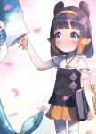 2girls bangs bare_shoulders blue_eyes blunt_bangs blurry blurry_foreground blush book camisole child closed_mouth collarbone eyebrows_visible_through_hair fish_tail gawr_gura hairband highres holding holding_book holding_hands hololive hololive_english jewelry kneehighs looking_to_the_side mole mole_under_eye multiple_girls necklace ninomae_ina'nis no_nose orange_hair orange_hairband orange_skirt petals renpc shark_tail shiny shiny_hair shirt shorts skindentation skirt solo_focus striped tail tentacle_hair virtual_youtuber younger