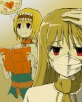 2girls alice_margatroid bangs blonde_hair book capelet closed_mouth commentary_request cookie_(touhou) dual_persona extra_mouth eyebrows_visible_through_hair frilled_neckwear frilled_sash hair_between_eyes hand_on_own_head heart highres hinase_(cookie) holding holding_book long_hair looking_at_viewer mask mouth_mask multiple_girls neckerchief red_eyes red_neckwear red_sash romaji_text sash short_hair smile speech_bubble touhou translation_request tsuno_(nicoseiga11206720) upper_body white_capelet