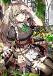 1girl adjusting_hair apron bangs black_legwear blush collar elf enj! looking_at_viewer maid maid_apron maid_headdress multiple_swords original pointy_ears sidelocks sitting sword thigh-highs weapon