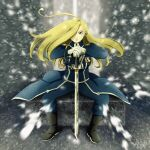 1girl amestris_military_uniform black_footwear blonde_hair blue_coat blue_eyes blue_pants boots coat floating_hair full_body fullmetal_alchemist gloves hair_over_one_eye highres holding holding_sword holding_weapon long_hair long_sleeves looking_at_viewer nachan1026 olivier_mira_armstrong pants signature sitting snow solo sword weapon white_gloves