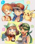 +_+ 1boy 3girls ;d ash_ketchum bangs baseball_cap black_hair blue_eyes blue_jacket blush_stickers brown_eyes brown_hair clenched_teeth commentary cupcake eyelashes flower food gen_1_pokemon gen_4_pokemon gloves green_bandana green_eyes green_hair grin hair_between_eyes hair_flower hair_ornament hat highres holding holding_tray index_finger_raised jacket kash-phia mallow_(pokemon) may_(pokemon) misty_(pokemon) mouth_drool multiple_girls munchlax on_shoulder one_eye_closed open_mouth orange_hair pikachu pokemon pokemon_(anime) pokemon_(classic_anime) pokemon_(creature) pokemon_dppt_(anime) pokemon_on_shoulder pokemon_sm_(anime) pokemon_swsh_(anime) shirt short_hair sleeveless sleeveless_jacket smile spoken_number suspenders swept_bangs t-shirt teeth tongue tray twintails upper_teeth v white_shirt yellow_shirt