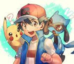 1boy ? ash_ketchum bangs baseball_cap black_hair blue_jacket brown_eyes clenched_hand commentary gen_1_pokemon gen_4_pokemon hair_between_eyes hat highres jacket kash-phia looking_at_viewer male_focus notice_lines open_mouth pikachu pokemon pokemon_(anime) pokemon_(creature) pokemon_on_back pokemon_swsh_(anime) red_headwear riolu shirt sleeveless sleeveless_jacket t-shirt tongue upper_teeth white_shirt