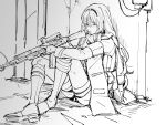 1girl an-94 an-94_(girls_frontline) assault_rifle boots dm_owr full_body girls_frontline greyscale gun hairband holding holding_gun holding_weapon knees_up long_hair monochrome one_eye_closed rifle sitting sketch solo weapon