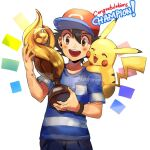1boy :d artist_name ash_ketchum bangs baseball_cap black_hair blush bracelet brown_eyes commentary congratulations fingernails gen_1_pokemon glint hair_between_eyes hat holding jewelry kash-phia male_focus on_shoulder open_mouth pikachu pokemon pokemon_(anime) pokemon_(creature) pokemon_on_shoulder pokemon_sm_(anime) red_headwear shirt short_sleeves smile striped striped_shirt t-shirt trophy upper_teeth watermark