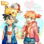 1boy 1girl :d ash_ketchum bangs baseball_cap black_hair blue_jacket blush brown_eyes buttons closed_mouth commentary eyelashes flying_sweatdrops gen_1_pokemon green_eyes hair_tie hand_up hat hatted_pokemon holding hood hooded_jacket jacket kash-phia long_sleeves looking_away misty_(pokemon) navel notice_lines on_head open_mouth orange_hair pikachu pink_jacket pokemon pokemon_(anime) pokemon_(creature) pokemon_on_head pokemon_swsh_(anime) shirt short_shorts short_sleeves shorts sleeveless sleeveless_jacket smile sweatdrop t-shirt tied_hair white_day white_shirt yellow_shirt
