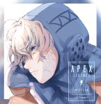 1girl apex_legends artist_name bangs blonde_hair blue_bodysuit blue_eyes blue_headwear bodysuit character_name copyright_name floating_hair freckles hissei hood looking_to_the_side ribbed_bodysuit scar scar_on_cheek scar_on_face solo upper_body wattson_(apex_legends)