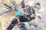 1girl bangs black_legwear blue_hair breasts cape chain csyday english_commentary eula_(genshin_impact) feathers frilled_sleeves frills genshin_impact gloves greatsword hair_ornament hairband holding holding_sword holding_weapon leaning_forward long_hair long_sleeves looking_at_viewer medium_breasts necktie open_mouth parted_lips reverse_grip solo sparkle sword thigh-highs thighs violet_eyes vision_(genshin_impact) weapon wide_sleeves yellow_eyes zettai_ryouiki