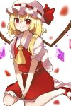 1girl apron ascot bat_wings blonde_hair blouse bow closed_mouth crystal flandre_scarlet frilled_shirt frilled_shirt_collar frilled_skirt frilled_sleeves frills hat hat_ribbon highres machimo medium_hair mob_cap one_side_up puffy_short_sleeves puffy_sleeves red_bow red_eyes red_ribbon red_skirt red_vest ribbon shirt short_sleeves siblings side_ponytail skirt skirt_set smile touhou vest white_shirt wings wrist_cuffs yellow_neckwear