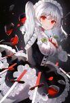 blood cup drinking_glass highres izayoi_sakuya knife red_eyes sakizaki_saki-p touhou wine_glass