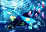absurdres air_bubble alomomola black_eyes bubble commentary from_below gen_2_pokemon gen_3_pokemon gen_5_pokemon glowing highres kaichi_(tomiyu25) kyogre legendary_pokemon looking_up luvdisc no_humans pokemon pokemon_(creature) primal_kyogre remoraid sharpedo signature swimming underwater wailord water_surface