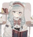 1girl animal_ears aqua_eyes aqua_hair arknights bear_ears book braid brown_hair character_name commentary cyrillic dated dress eyebrows_visible_through_hair flower hair_flower hair_ornament hairband highres holding holding_book istina_(arknights) istina_(bibliosmia)_(arknights) jacket long_hair looking_at_viewer monocle nstlgie off_shoulder official_alternate_costume semi-rimless_eyewear smile solo upper_body white_dress white_jacket