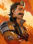 1boy ammunition_belt apex_legends artist_name black_hair black_jacket bullet cropped_torso explosive facial_hair fuse_(apex_legends) grenade highres iwamoto_zerogo jacket jewelry looking_at_viewer male_focus mechanical_arms multicolored_hair mustache necklace single_mechanical_arm sleeveless sleeveless_jacket smile solo streaked_hair upper_body white_hair