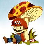 blue_overalls gloves gras mario mario_(series) mario_bros. mushroom nintendo red_hat