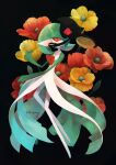 anemone_(flower) colored_skin commentary_request eye_contact flower gardevoir gen_3_pokemon gen_5_pokemon highres kikuyoshi_(tracco) looking_at_another looking_back orange_eyes orange_flower pokemon pokemon_(creature) signature white_skin yamask yellow_flower