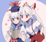 2girls ? blue_dress blue_headwear book bow commentary_request dress flower fujiwara_no_mokou hair_bow hand_in_pocket hat holding holding_book itomugi-kun kamishirasawa_keine long_hair multicolored_hair multiple_girls open_mouth pants reading red_bow red_eyes red_pants shirt short_sleeves smile suspenders torn_clothes torn_sleeves touhou two-tone_hair white_bow white_hair white_shirt