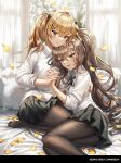 2girls arm_around_back bangs black_neckwear black_ribbon black_skirt blonde_hair brown_hair brown_legwear collared_shirt curtains dress_shirt feet_out_of_frame full_body girls_frontline hair_between_eyes hair_ornament hairclip highres holding_hands leaning_on_person long_hair long_sleeves lying multiple_girls neck_ribbon no_shoes on_bed on_side pantyhose petals pillow pleated_skirt red_eyes ribbon scar scar_across_eye shirt side_ponytail signature silence_girl sitting skirt smile ump45_(girls_frontline) ump9_(girls_frontline) very_long_hair white_shirt yellow_eyes yuri