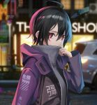 1girl ahoge alternate_costume black_hair blurry blurry_background breasts car city covered_mouth grey_sweater ground_vehicle hair_between_eyes hand_up highres houjuu_nue jacket long_sleeves looking_at_viewer medium_breasts motor_vehicle night outdoors purple_jacket red_eyes short_hair sideways_glance solo storefront sweater touhou turtleneck upper_body yaye