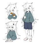 1girl absurdres ahoge animal_ears arknights blue_eyes blue_shorts crying cup cutting_board cutting_onions eating green_sweater hair_ornament hairclip highres holding holding_cup holding_knife knife lappland_(arknights) long_hair mug multiple_views originium_(arknights) oripathy_lesion_(arknights) partially_colored runamonet scar scar_across_eye sharp_teeth shorts simple_background slippers solo sweater tail teeth very_long_hair white_background white_hair wolf_ears wolf_tail